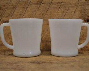 White Fire King Mugs Set of Two , D Handle Fire King, Fire King Coffee Mugs, Vintage Milk Glass, Vintage Fire King, Vintage White Fire King