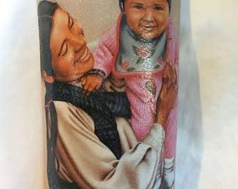 Native American Oil Painting Ceramic Tile Decoupage
