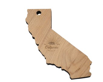 California State Shaped Cutting Board Made From Red Oak (Can Be Personalized) LARGE