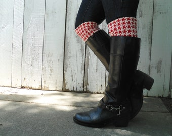 Boot toppers, boot cuffs Red and off white houndstooth boot toppers