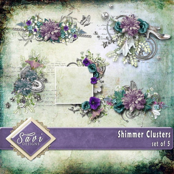 Digital Scrapbooking Clusters set of 4 - SHIMMER premade embellishment png clusters to make immediate scrap page