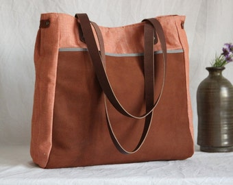 Spacious shoulder bag leather and linen, brown leather bag, canvas bag, Briefcase, shopping bag