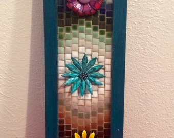 Mosaic tile and metal flower wall decor