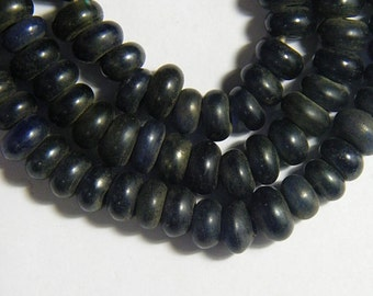 LG REAL Old Indo Pacific DARK Blue Glass Rondelle Bead Trade Wind Tribal Strand #893