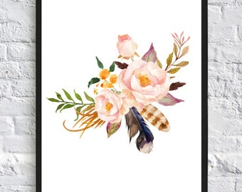 floral print, watercolor print flowers feathers, floral watercolor, art print, wall art print, printable,  watercolor poster