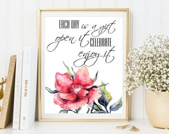 Positive quote affirmation print nursery Motivational quotes home decor floral wall art inspirational art  printable watercolor gift poster