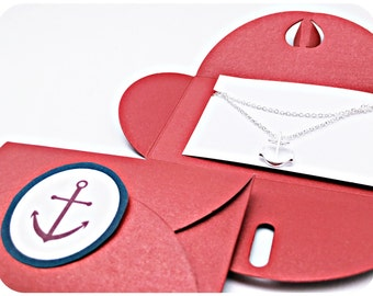 Chain anchor SILVER, RED anchor packing, gift idea, Anchor love