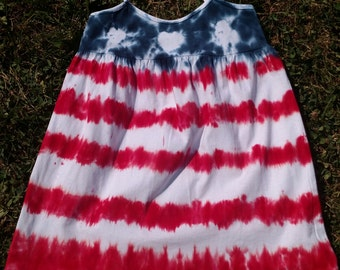 Red White and Blue American Flag Custom Tie-Dye Toddler Dress 4T