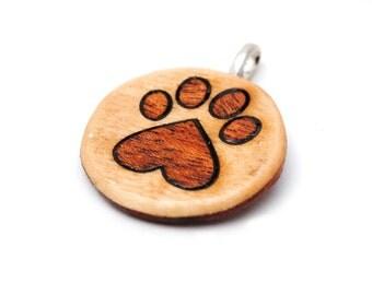 Hand-Made Heart Paw Print Keychain / Pendant