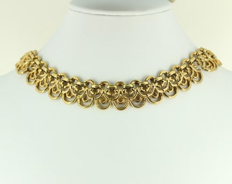 1940s Trifari Necklace - Gold Scallop Trifari PP Pat Pend - Trifari Vintage Jewelry, Hollywood Regency Jewelry Gold Choker Necklace Collar