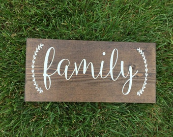 Family hand painted wooden sign