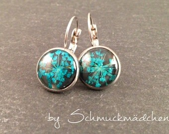 Earrings earrings flower turquoise