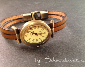 Watch leather bronze Brown
