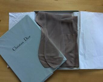 Genuine 60s Dior Stockings 2 Pairs in Original Box Seam Cuban Heel 15 Denier Miss Dior Vermeil Size 9.5 Vintage Hosiery Stunning Unworn