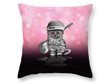 Peace, Love, Rock n Roll Throw Pillow, pink