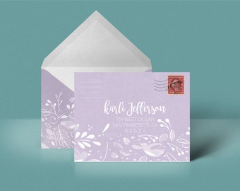 Violet Custom Printable Envelope Stationery Woodland Pattern