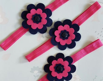 "Hot Pink and Navy Elastic Baby Toddler Floral Headband 15"" 12 to 18 months size"