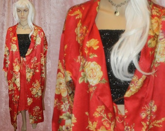 red floral robe
