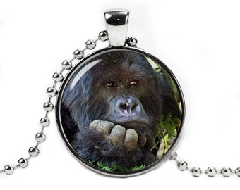 Gorilla Pendant Necklace with a ball chain Gorilla Jewelry Gorilla Necklace