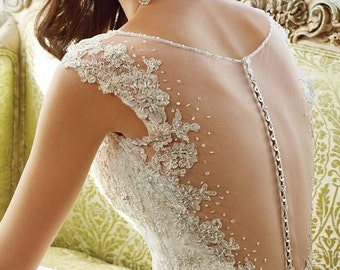 Lace Bare Back A-Line Wedding Dress