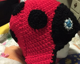 Red and black Ladybug earflap beanie