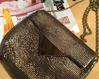 Gold Oroton sequin purse with gold chain