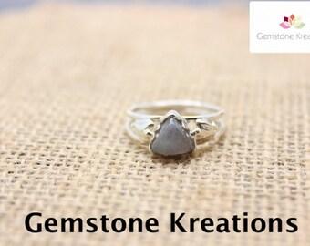 Labradorite Ring, 925 Sterling Silver Ring, 18K gold plated Ring