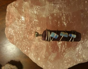 Wire wrapped genuine amethyst with opalite pendant
