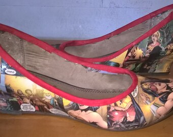 Ladies Decoupaged Wonder Woman ~ Flat shoes : Size 6