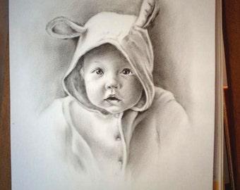 portrait sur commande portrait personnalisé portrait enfant bébé adulte famille portrait animal dessin au crayon pinceau sec à l'huile