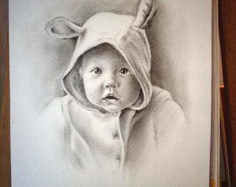 custom portrait personalized portrait child portrait family portrait pet portrait pencil drawing dry brush oil child portrait on Photo