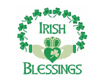 Irish Blessings  Claddagh Ring- machine embroidery design