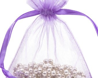 100 Lavender Organza Gift Pouch Wedding Favour Bag Jewellery Pouch- 6 Sizes
