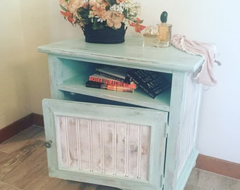 Mint and White Nightstand/Side Table