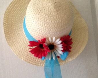 Flowered Straw Sun Hat