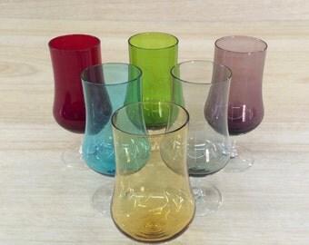 Vintage Retro Harlequin Wine Glasses x 6