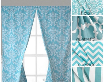 Blue curtain panel – Etsy