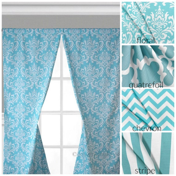 aqua turquoise blue curtain panels window treatments chevron stripe