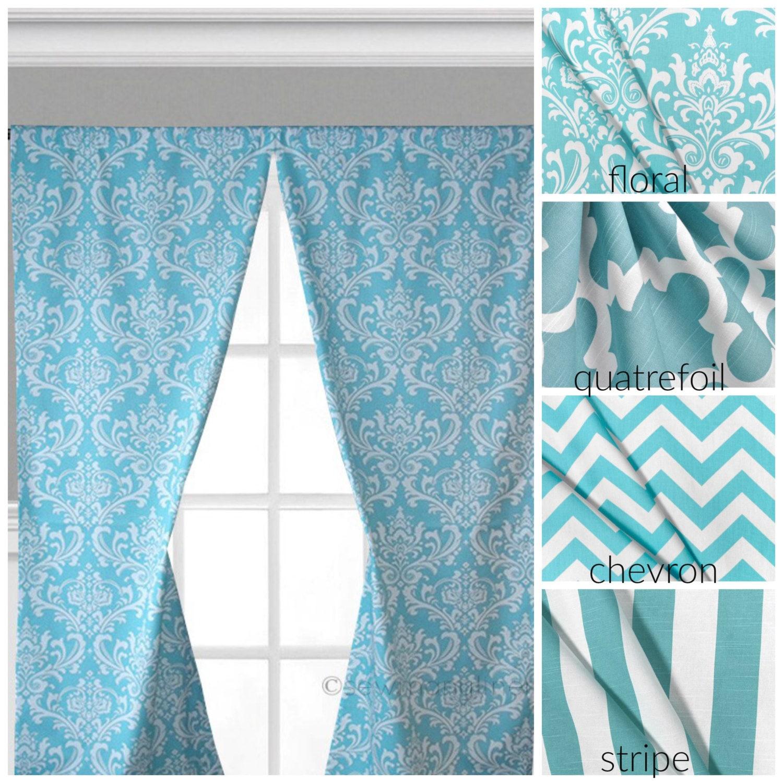 Aqua Turquoise Blue Curtain Panels Window Treatments Chevron