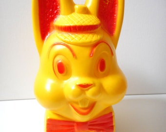 Vintage AJ Renzi Style Bunny Rabbit Blow Mold Coin Bank