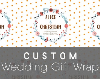 Custom Wedding Gift Wrapping Paper, Folk Emblem; Wedding Gift Wrap