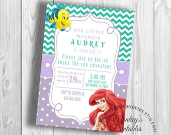 Princess Ariel Birthday Party, Little Mermaid Birthday Party Invitation,  Little Mermaid Printable Birthday Party Invitation