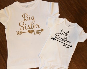 Big Sister Shirt, Little Brother Shirt, Little Brother Onesie, Sibling Shirts, New baby shirt, Sister Brother Shirts, Sister Shirt, Brother