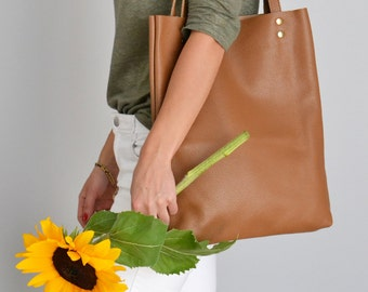 SIMPLE BROWN TOTE Leather Tote Bag Pebbled Leather Laptop Bag Italian Brown Leather Tote - Madrid Bag -