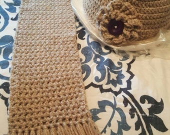 Crochet scarf and hat set, Warm in beige...