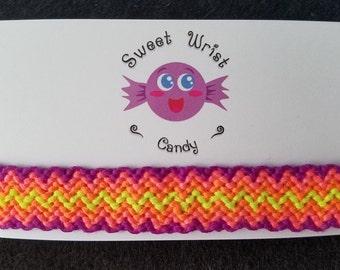 Handmade Neon Zigzag Pattern Friendship Bracelet
