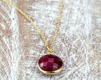 Ruby Necklace/Ruby Stone Necklace/July Birthstone/Genuine Ruby Necklace
