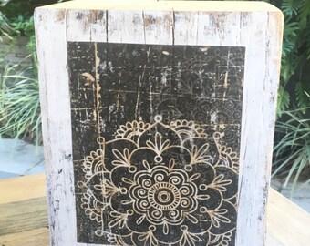 Batik on distressed white wood block