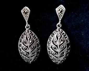 Beautiful Marcasite Earrings Leonor, Sterling Silver Earrings with Marcasite, Shiny Earrings, Bridal Earrings, Leaf Earrings, Gift Idea