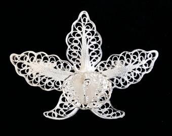Orchid Brooch, Filigree Brooch, Sterling Silver Brooch, Flower Brooch, Filigree Brooch, Floral Brooch, Filigrana, Gift Idea, Orchid Gift
